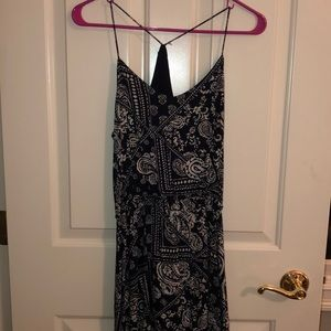 Patterned Navy Blue Dress